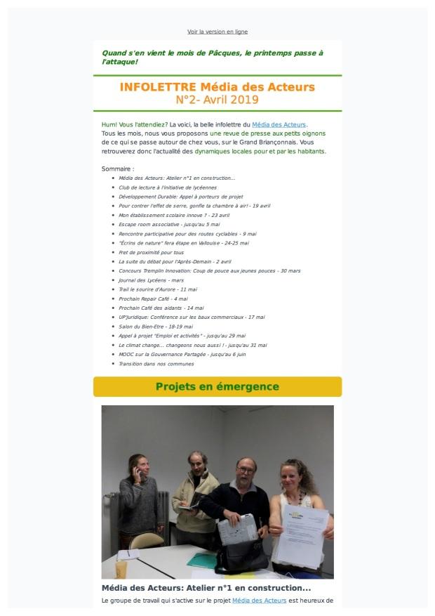 Média des Acteurs- Infolettre n°2- Avril page couverture